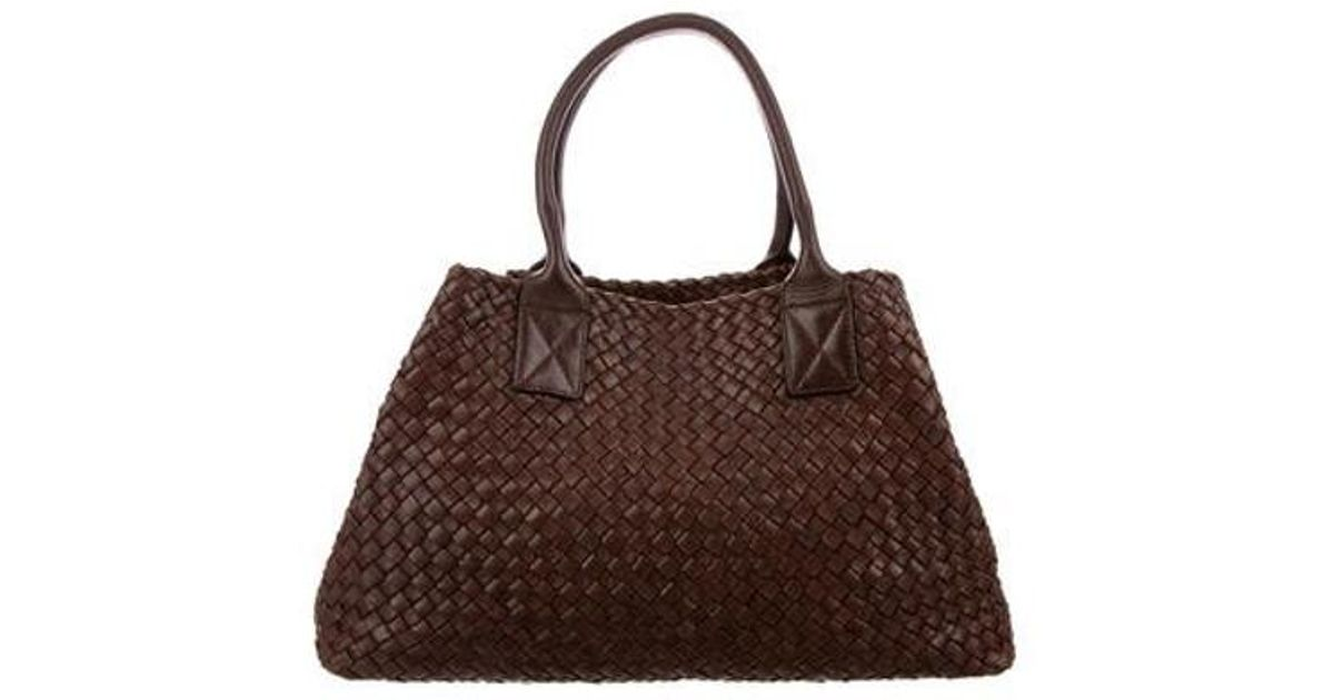 b6c2d7868345 Lyst - Bottega Veneta Intrecciato Cabat Tote in Brown