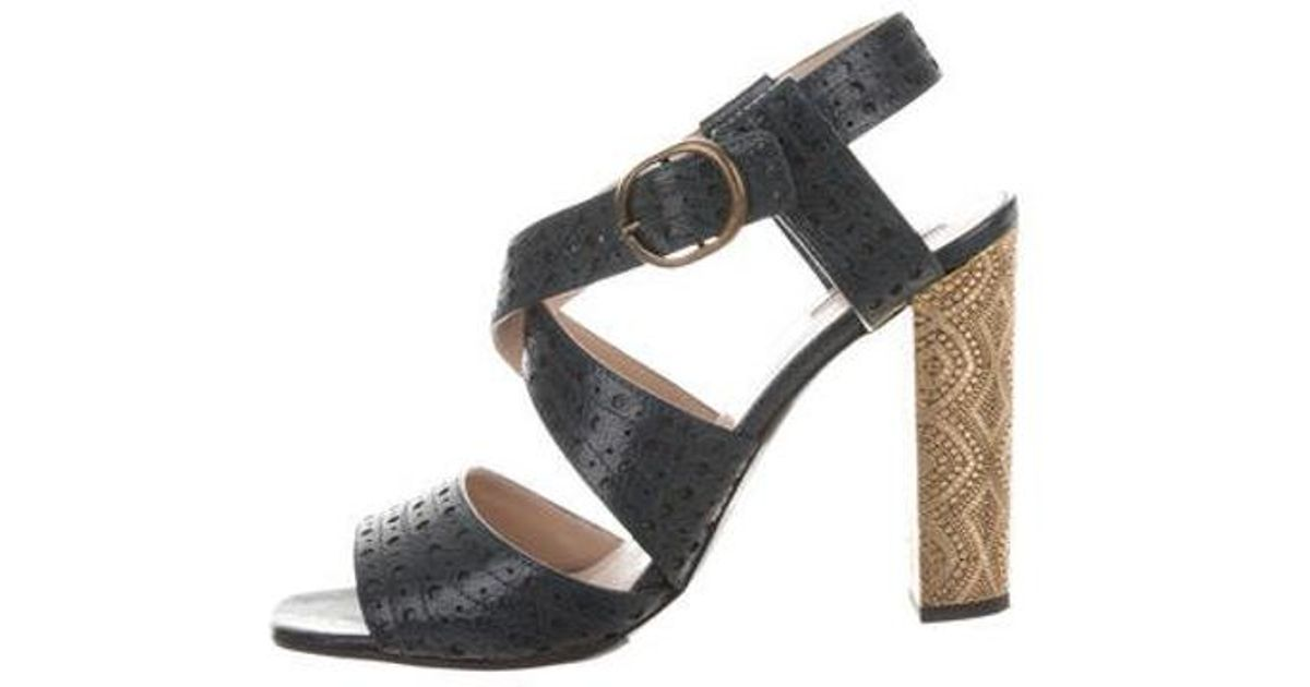 6c56f054158 Lyst - Dries Van Noten Printed Ankle Strap Sandals Teal in Metallic