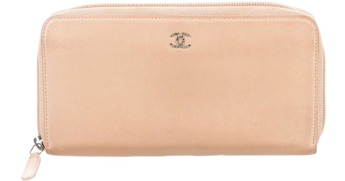 14a28270a94d Lyst - Chanel Sevruga Continental Wallet Beige in Metallic
