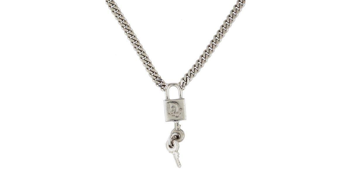 necklace oversized chanel padlock silver cc gold