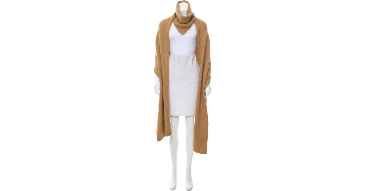 69008cf9984 Lyst - A.L.C. Camel Rib Knit Shawl in Brown