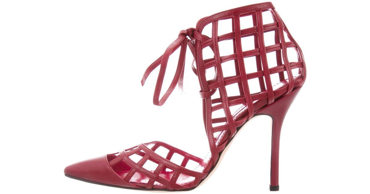 d18e482f378d Lyst - Manolo Blahnik Leather Caged Pumps in Red
