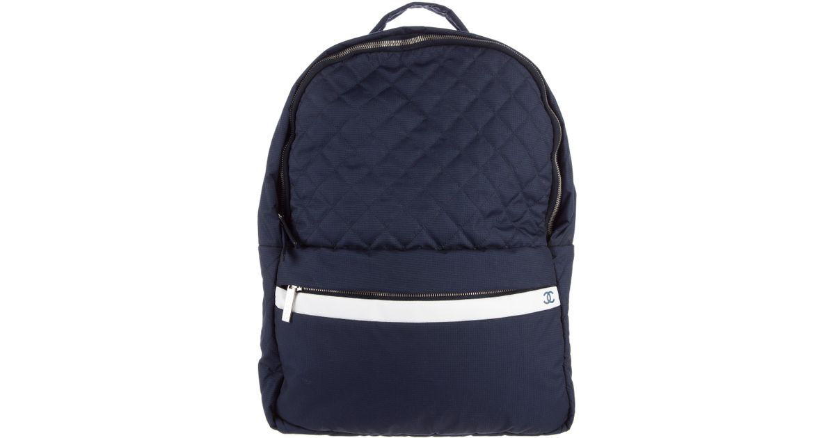 69d3d7c5307a Lyst - Chanel 2015 Quilted Nylon Coco Cocoon Backpack Navy in Metallic for  Men