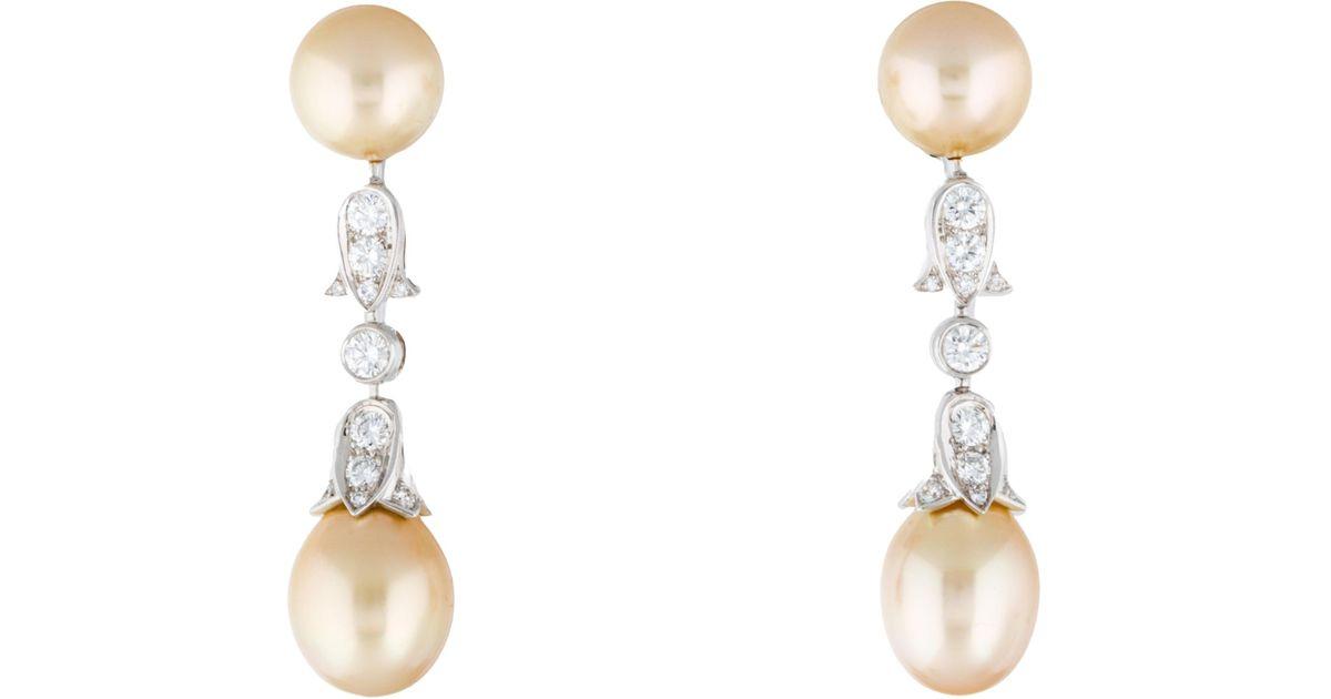 Lyst Cartier Platinum South Sea Pearl Diamond Drop Earrings Yellow In Metallic