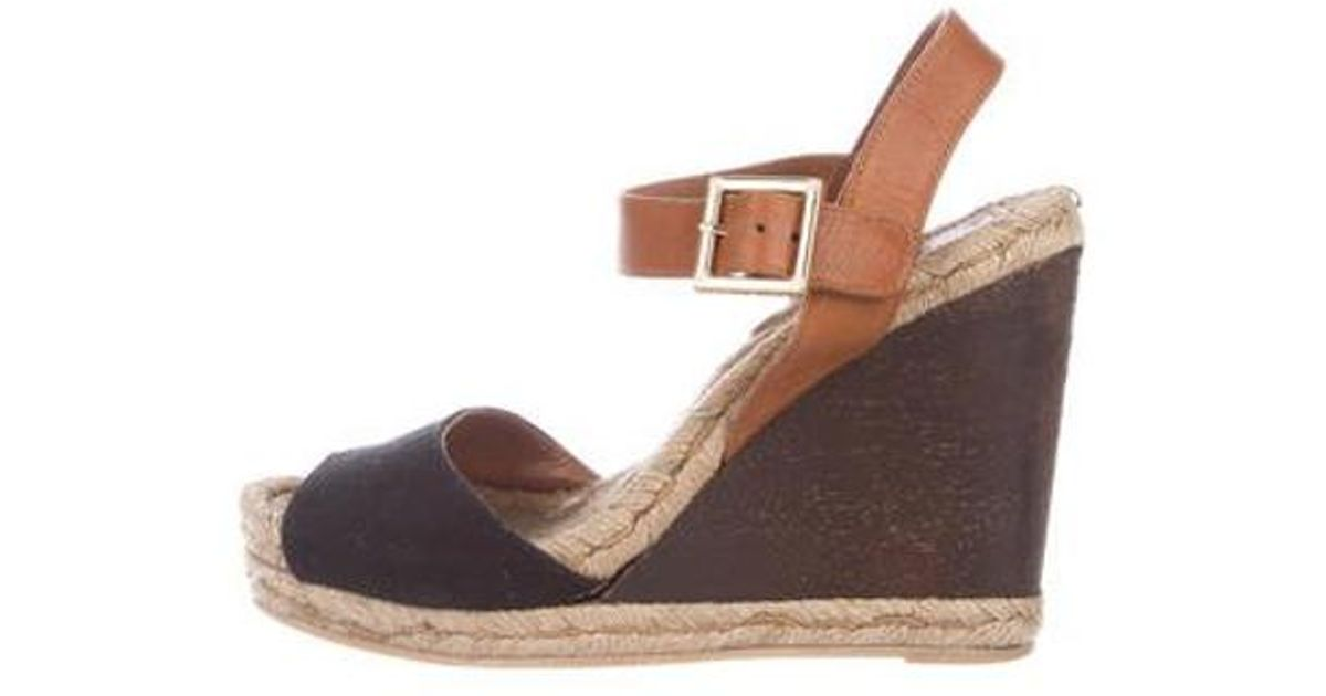 e467f7de912da Lyst - Tory Burch Espadrille Wedge Sandals Black in Metallic