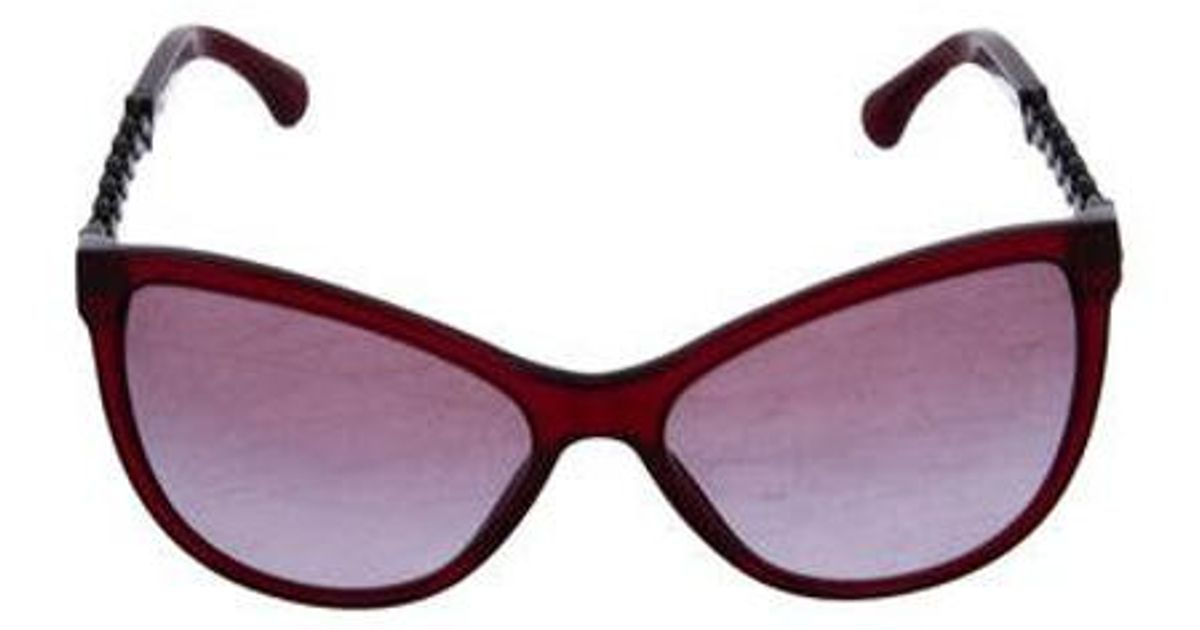 ae2b6aa6a650f Lyst - Chanel Butterfly Chain-link Sunglasses W  Tags Burgundy in Red