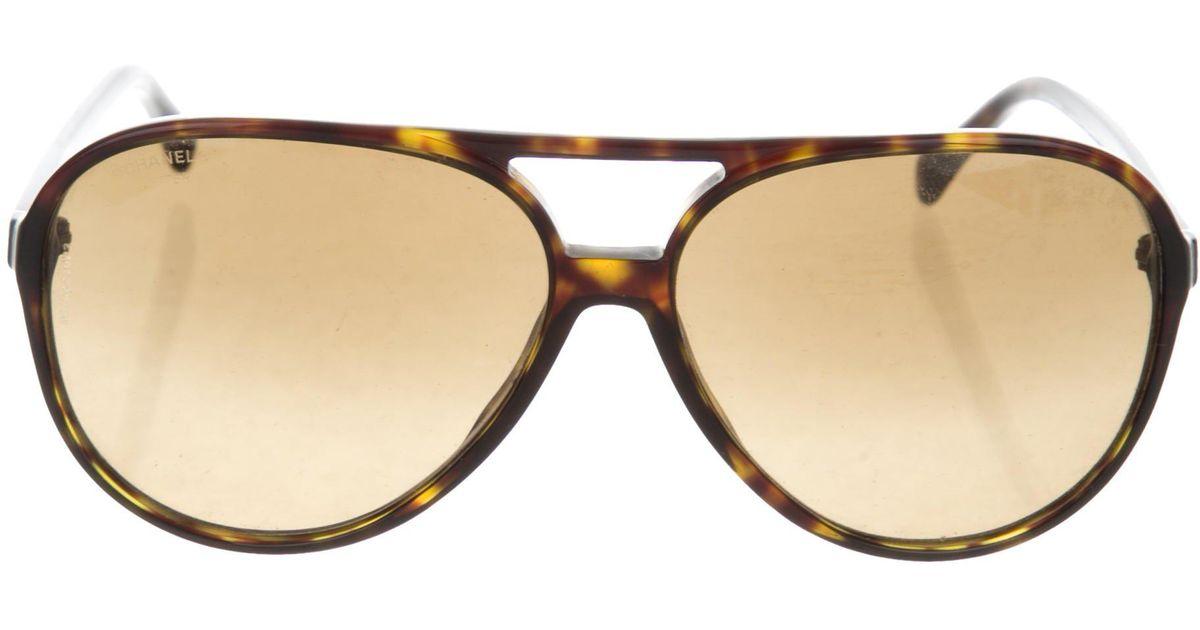 c8f726e1f45 Lyst - Chanel Tortoiseshell Aviator Sunglasses in Brown