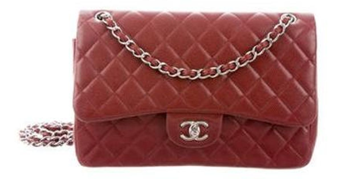 Lyst - Chanel Caviar Classic Jumbo Double Flap Bag Red in Metallic 1d643242d