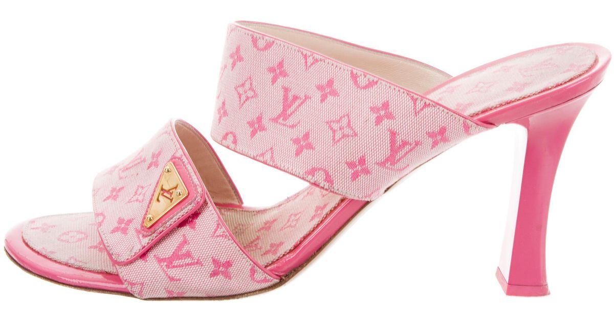0a32df7d90b34b ... Lyst - Louis Vuitton Monogram Canvas Slide Sandals Pink in Metallic  shoes for cheap 3469a a0bfd ...