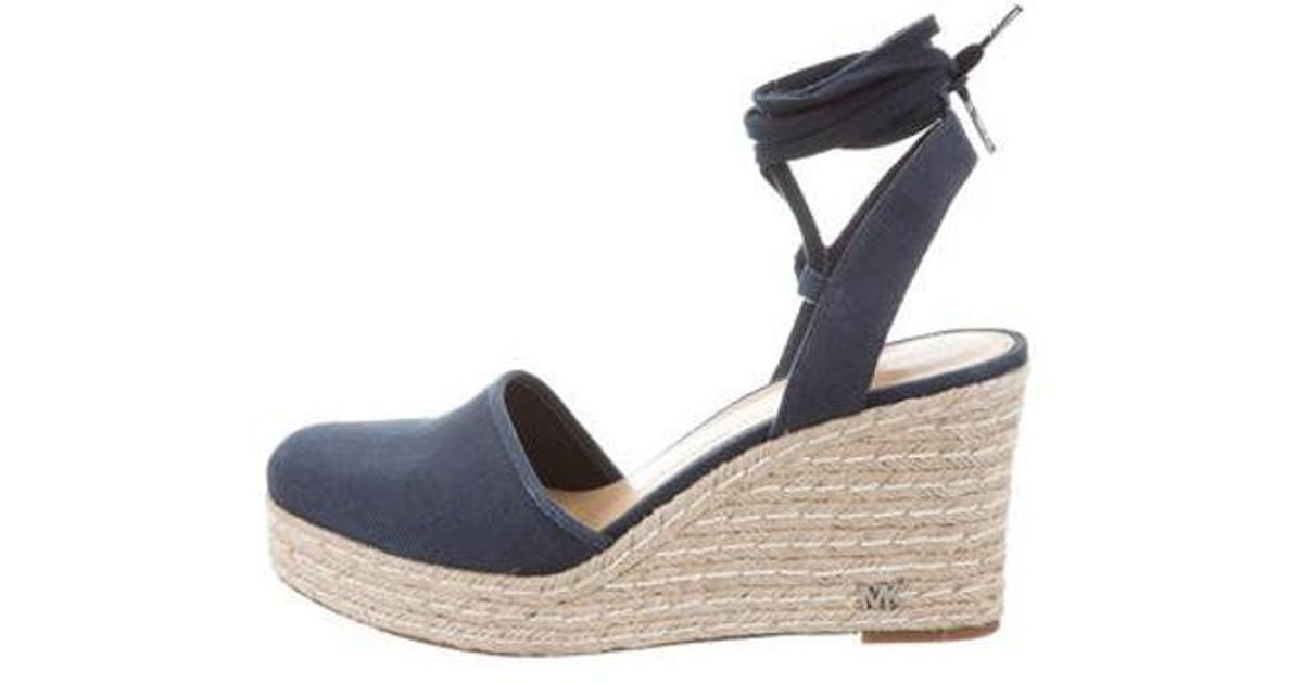 9806feee81a Lyst - Michael Michael Kors Michael Kors Canvas Wedge Sandals Navy in Blue