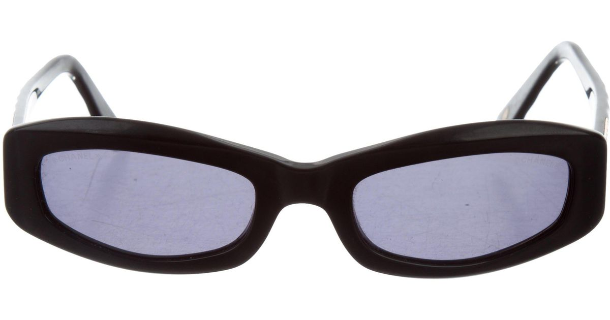Chanel Quilted Cc Sunglasses Black in Metallic | Lyst : chanel quilted glasses - Adamdwight.com
