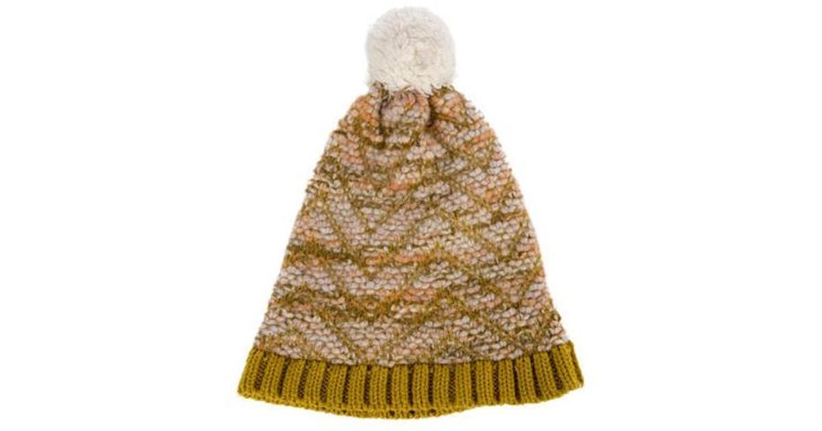 33dc4e5e806 Lyst - Missoni Knit Pom-pom Beanie Multicolor in Metallic
