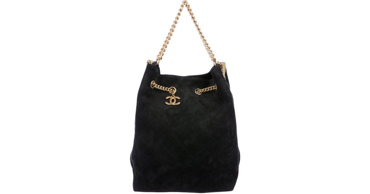 882fc0908304 Lyst - Chanel 2016 Large On My Shoulder Bucket Bag Black in Metallic