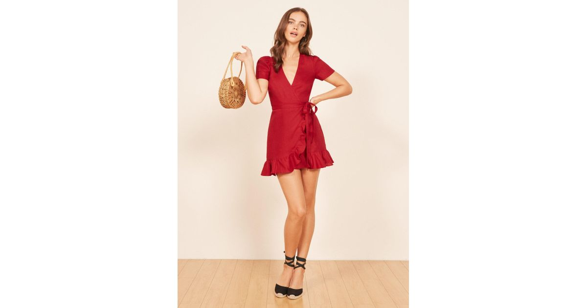 ed431473f62 Lyst - Reformation Sally Dress in Red