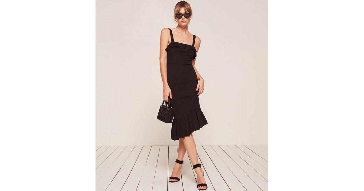 6fd43855c4 Lyst - Reformation Frida Dress in Black