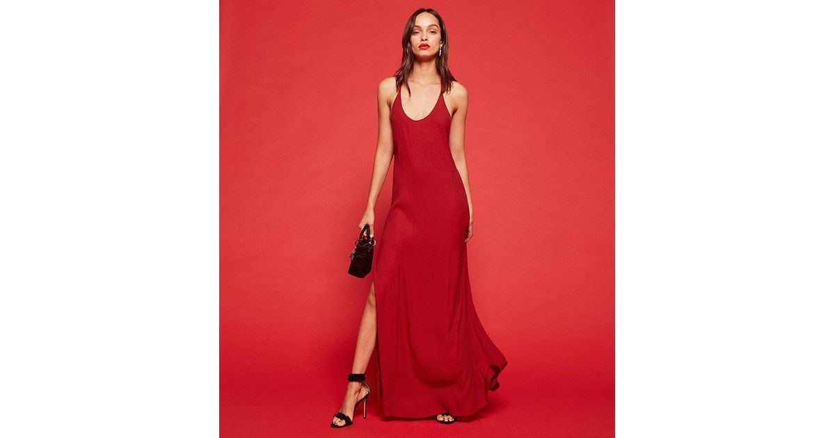 90d69c4bf8e Lyst - Reformation Miguel Dress in Red