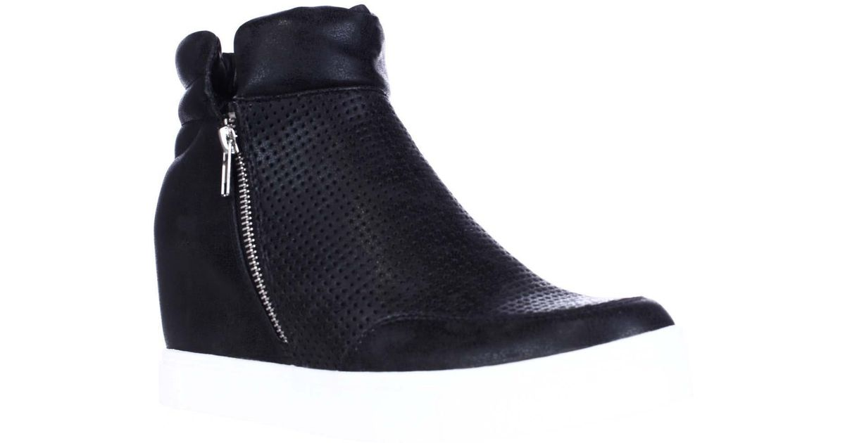 ae7555cf222e Steve Madden Linqsp Perforated Wedge Fashion Sneakers in Black - Lyst