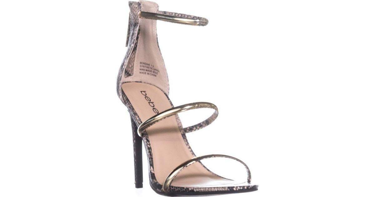 1d59cc2db25 Lyst - Bebe Berdine Strappy Dress Sandals in Natural
