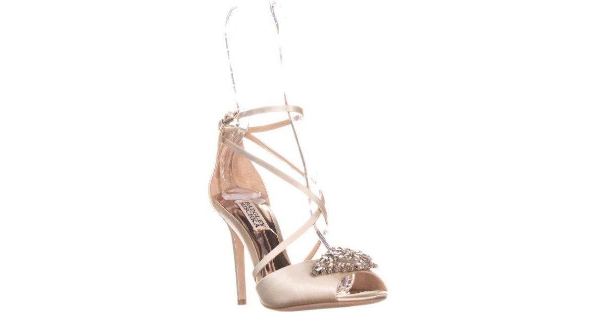 88f04ba2c916a Lyst - Badgley Mischka Tatum Peep Toe Strappy Dress Sandals in White