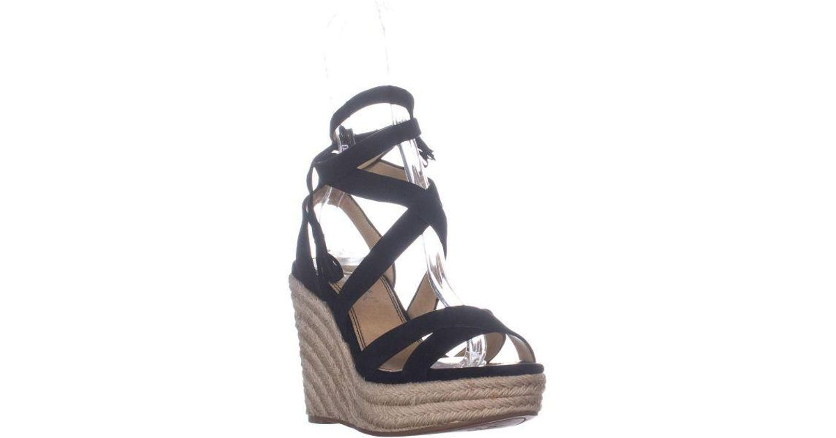 6a8df9dd44c Splendid Janice Espadrille Wedge Strappy Sandals in Black - Lyst