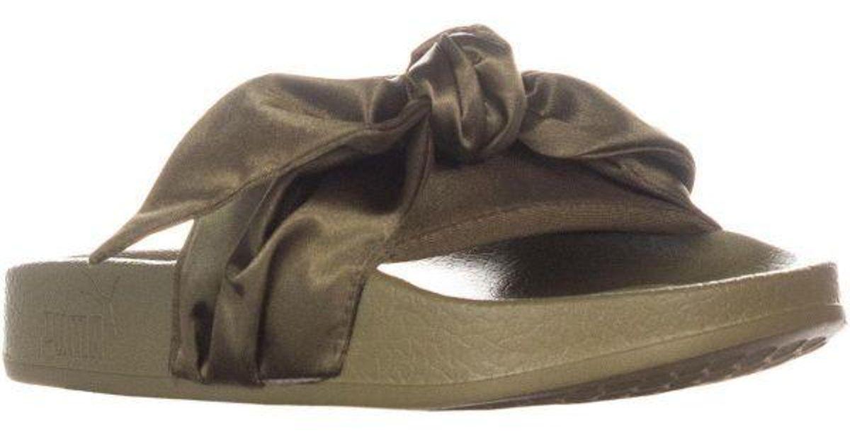 purchase cheap 4246a 5f420 PUMA - Green Fenty Bow Slides Tie Sandals - Lyst