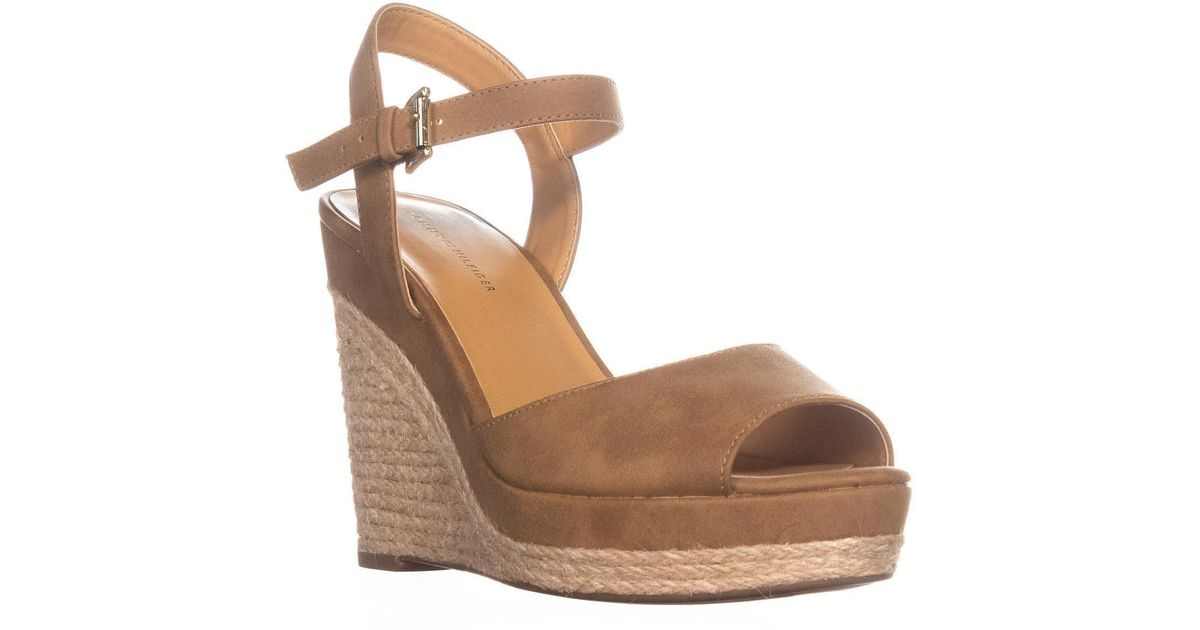 a3cebd1a Tommy Hilfiger Kali2 Peep Toe Wedge Sandals in Brown - Lyst