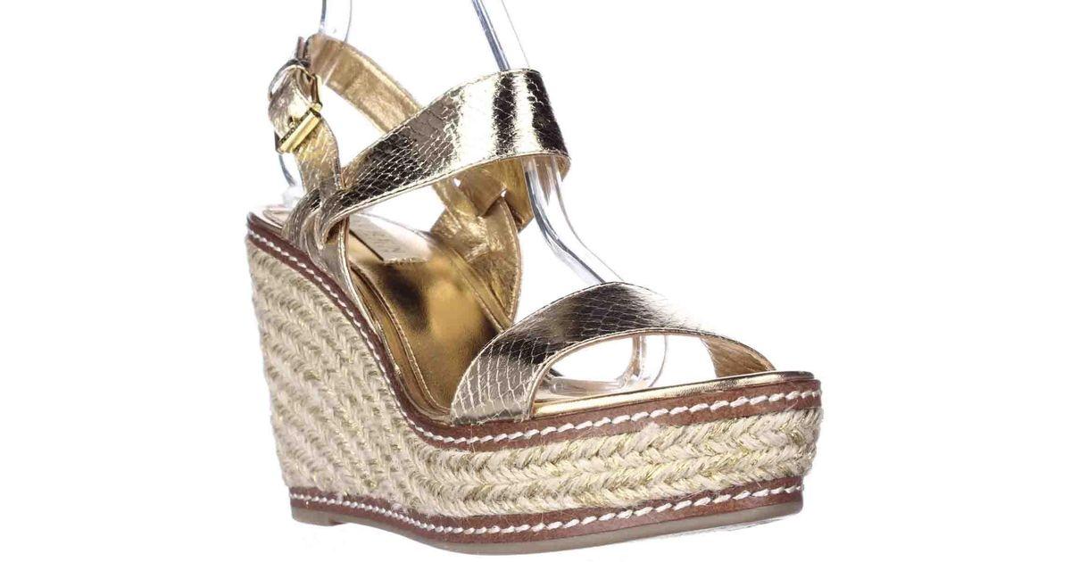 lauren by ralph lauren lauren ralph lauren serana wedge espadrille sandals gold in metallic lyst. Black Bedroom Furniture Sets. Home Design Ideas