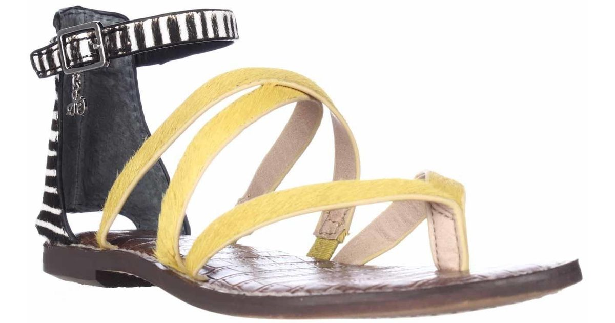 Sam edelman gilroy gladiator flat sandals in yellow lyst for Gilroy outlets jewelry stores