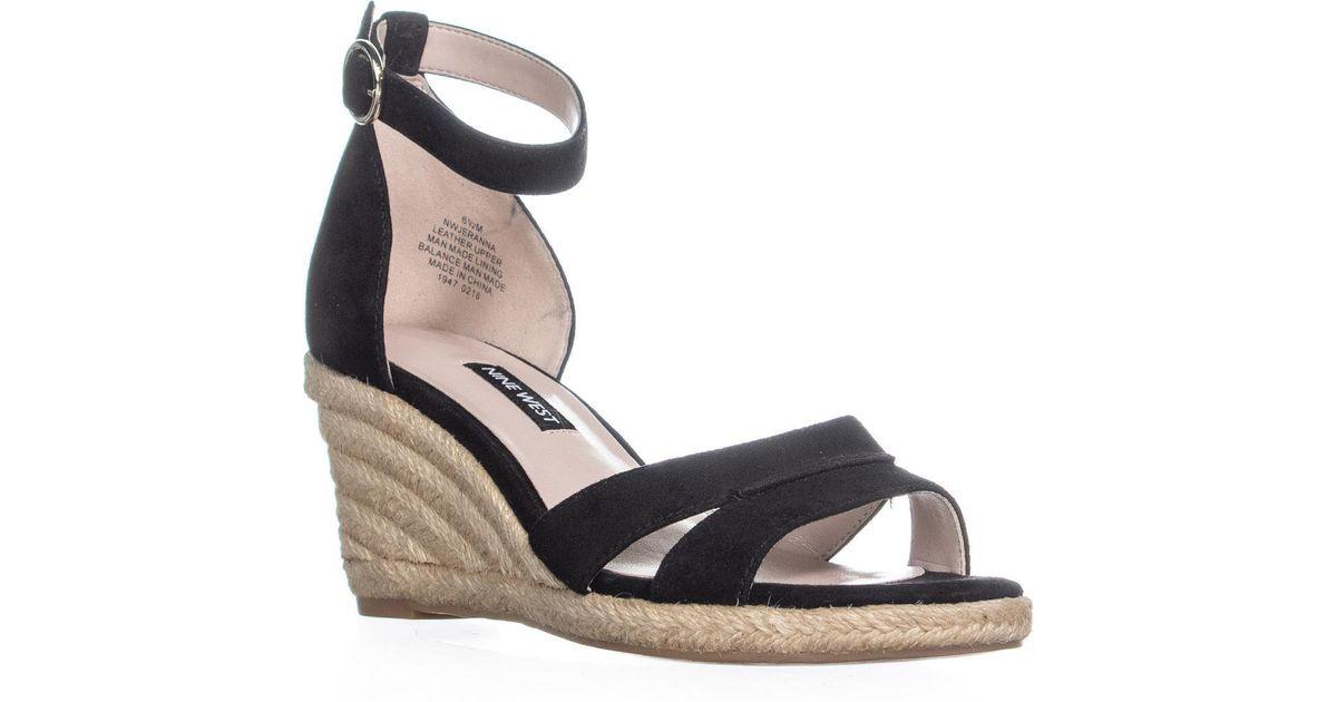 5044e36595a Nine West Black Jeranna Wedge Heel Espadrilles Sandals