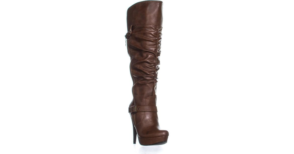 Guess G By Drea Wide Calf Knee High Boots In Brown Lyst