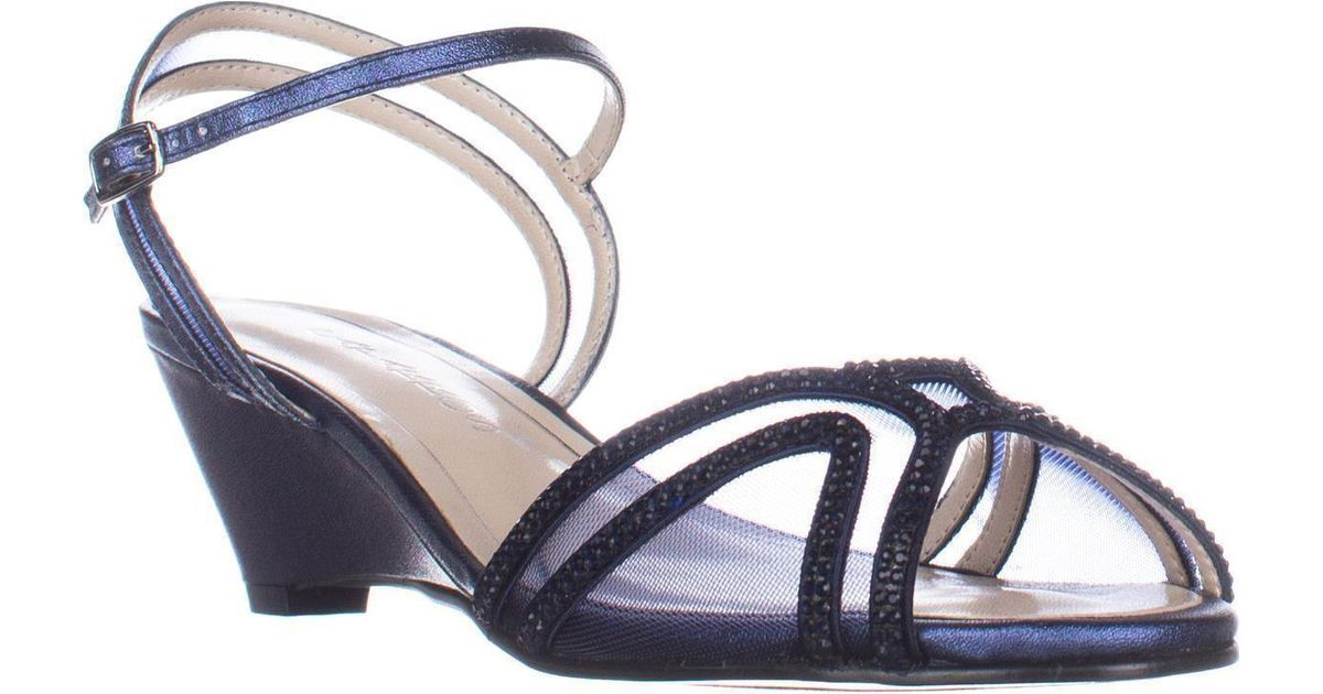 Caparros Lyst Wedge Dress Sandals Low Blue Fvyygb76 Heel Hilton HW9YI2ED