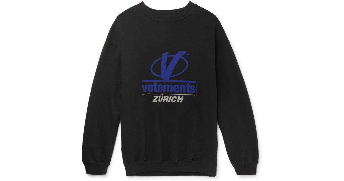 Vetements Zurich Print Sweatshirt For Men Lyst