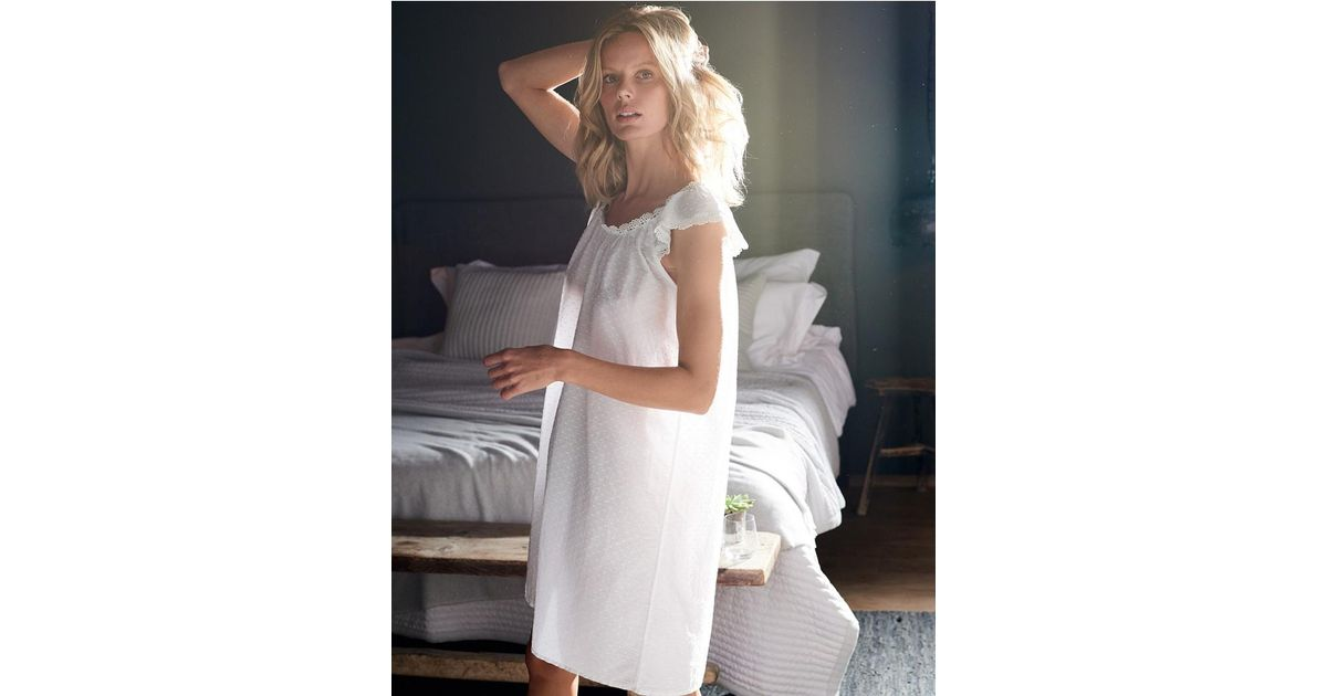 14f07c2827 Lyst - The White Company Cotton Broderie Trim Nightgown in White