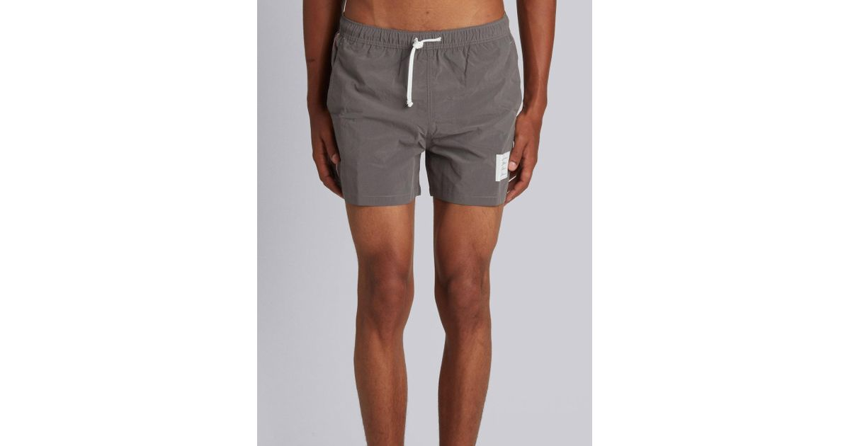 d61a237b4dc13 Thom Browne Classic Swim Trunk With Red, White And Blue Grosgrain Side Seam  In Grey Brushed Finish Swim Tech in Gray for Men - Lyst