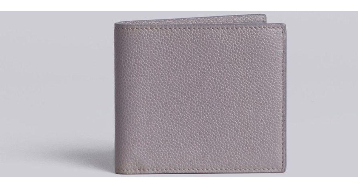 d1fcad7c20a6 Thom Browne Billfold Wallet In Grey Pebble Grain in Gray for Men - Lyst