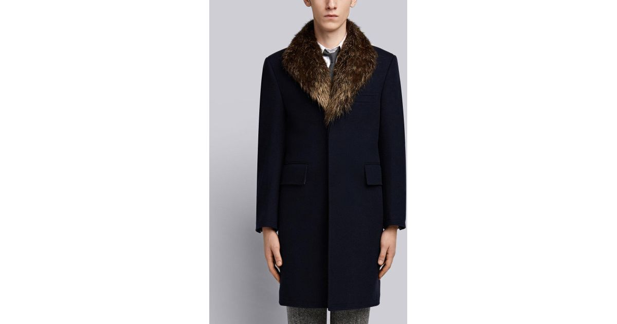 63696961994f Thom Browne Detachable Gold Beaver Collar Melton Wool Chesterfield Overcoat  in Blue for Men - Lyst