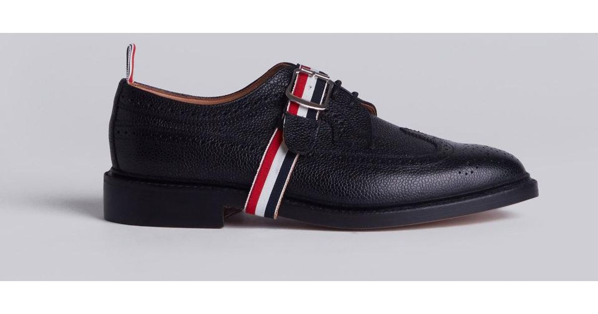 Classic Long Wingtip Brogues With Grosgrain Strap - Black Thom Browne ZbHB6gV2b