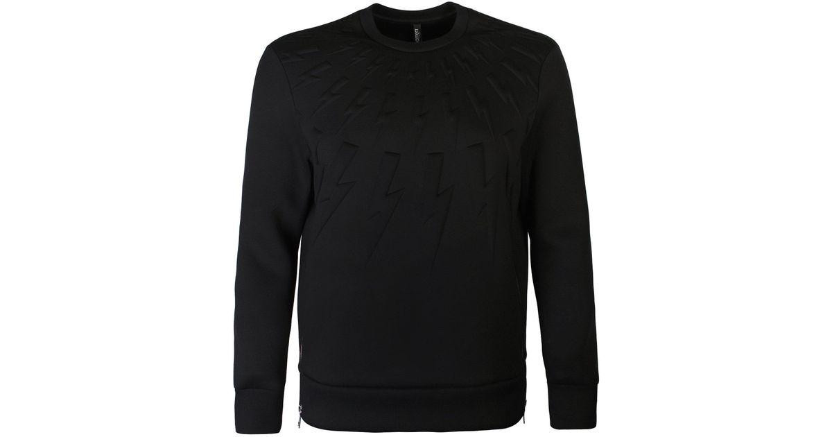 8bbf0696d Neil Barrett Black Neoprene Lightning Bolt Sweatshirt in Black for Men -  Lyst