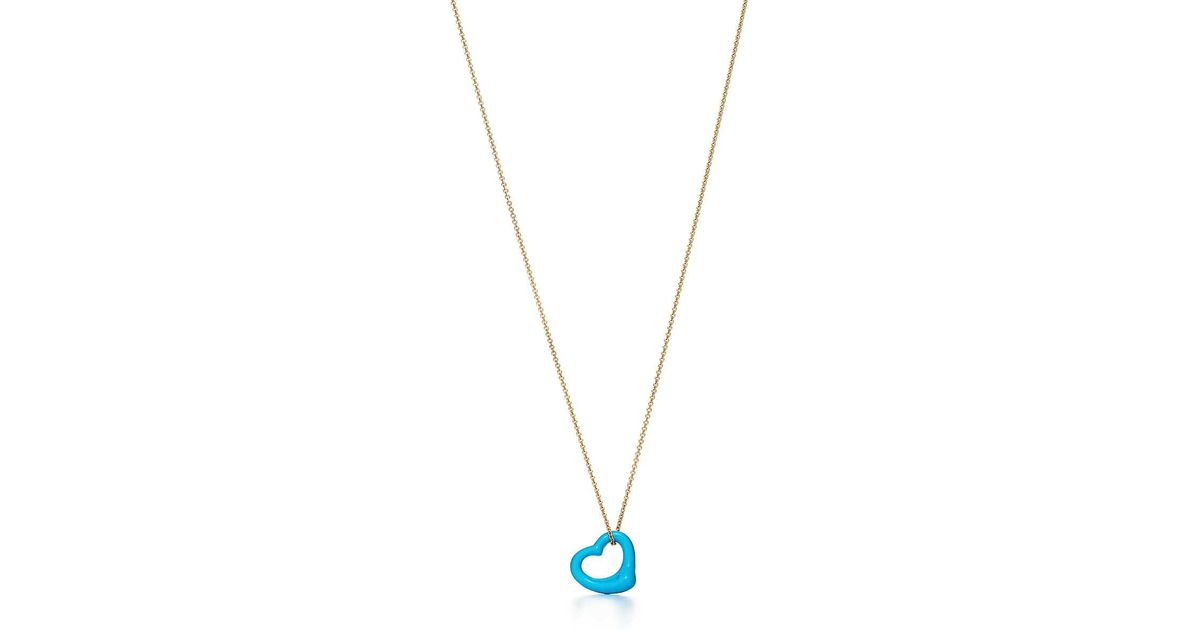 b1ed7e51056e Tiffany   Co. Elsa Peretti. Open Heart Pendant Of Turquoise And 18k Gold in  Metallic - Lyst