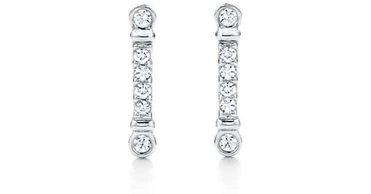 b141e0876 Tiffany & Co. Tiffany Fleur De Lis Key Bar Earrings In Platinum With  Diamonds in Metallic - Lyst