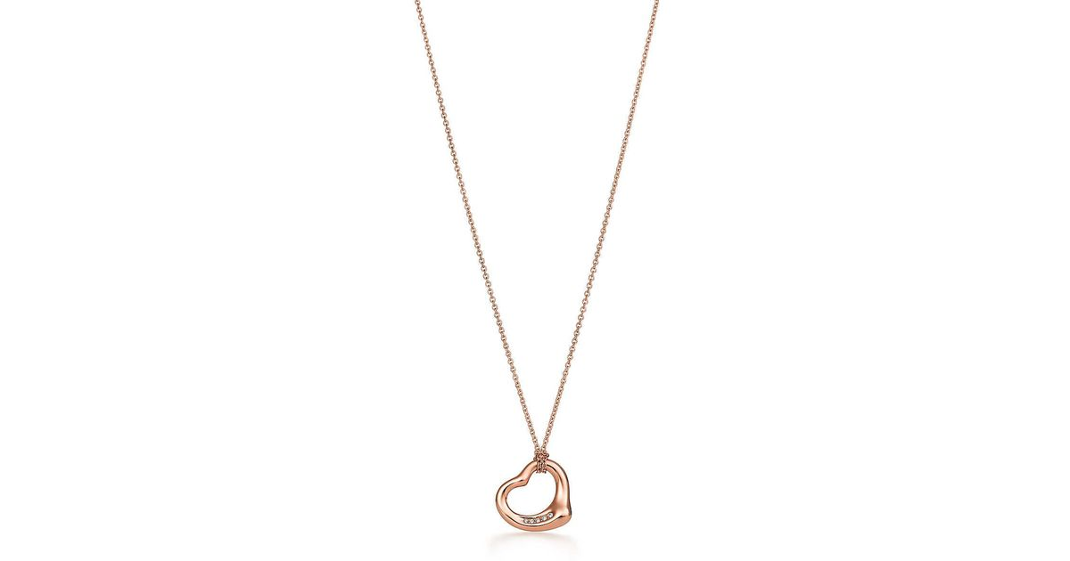 747738866 Tiffany & Co. Elsa Peretti. Open Heart Pendant In 18k Rose Gold With  Diamonds in Pink - Lyst