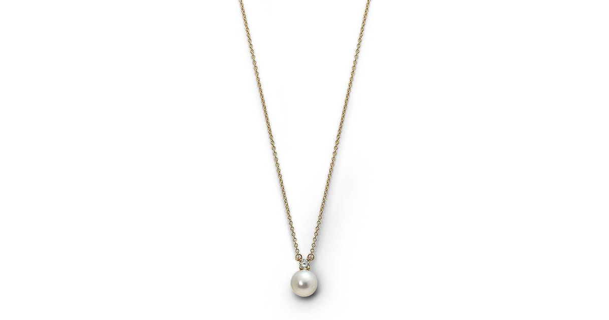 579f67396 Tiffany & Co. Pendant With A Cultured Pearl And Diamond In 18k Gold in  Metallic - Lyst