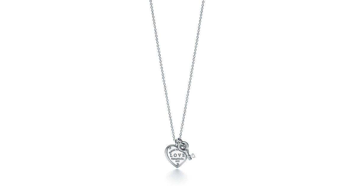 Tiffany co love heart tag key pendant in metallic lyst aloadofball Image collections