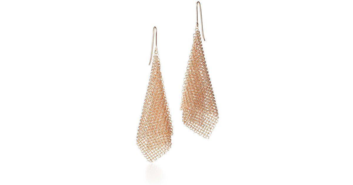 e6112eca7 Tiffany & Co. Elsa Peretti. Mesh Earrings In 18k Rose Gold, Small in ...