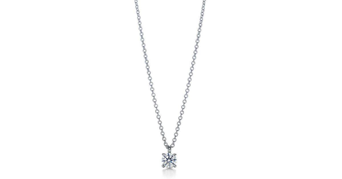 Tiffany co tiffany solitaire diamond pendant in platinum 17 lyst aloadofball Images
