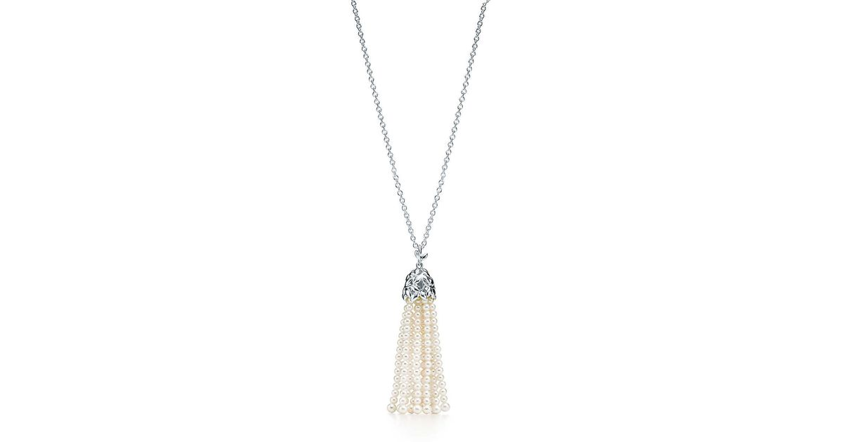 Paloma Picasso Olive Leaf tassel necklace in silver with amazonites, large Tiffany & Co.