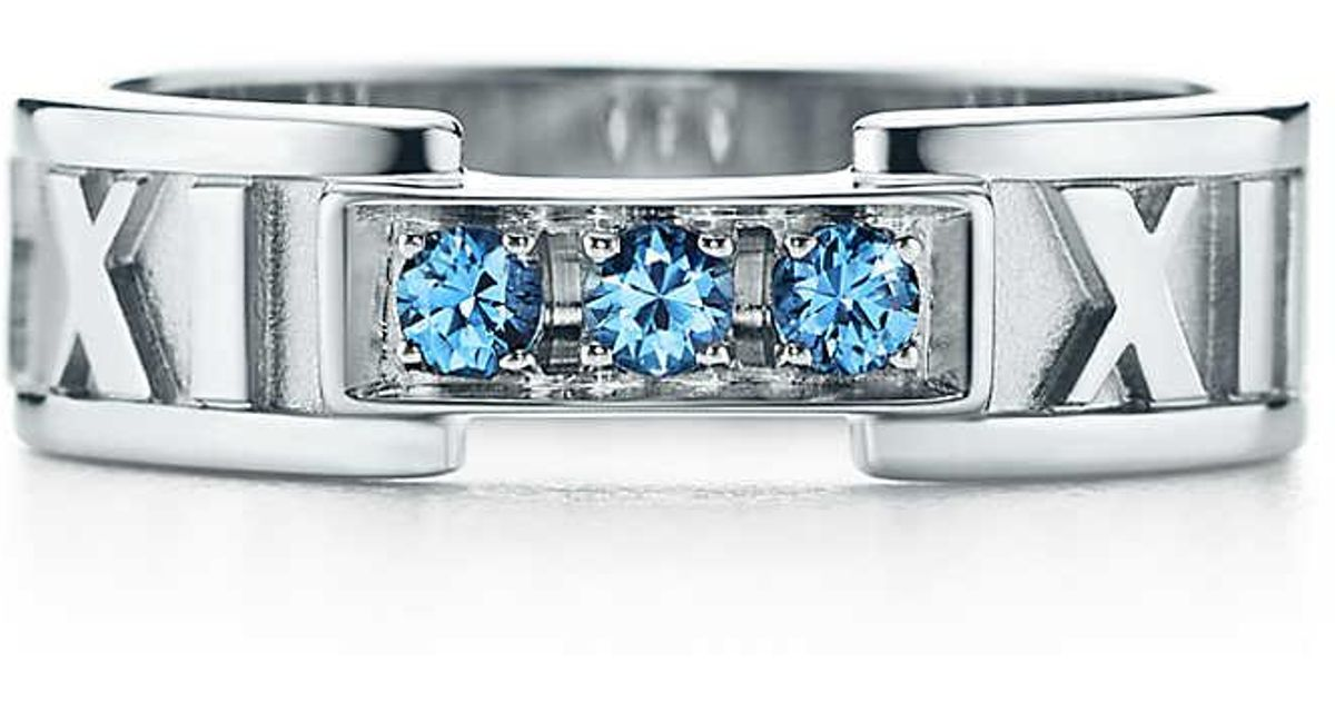 002a81624 Tiffany & Co. Atlas® Closed Narrow Ring In 18ct White Gold With Montana  Sapphires - Size 5 in White - Lyst