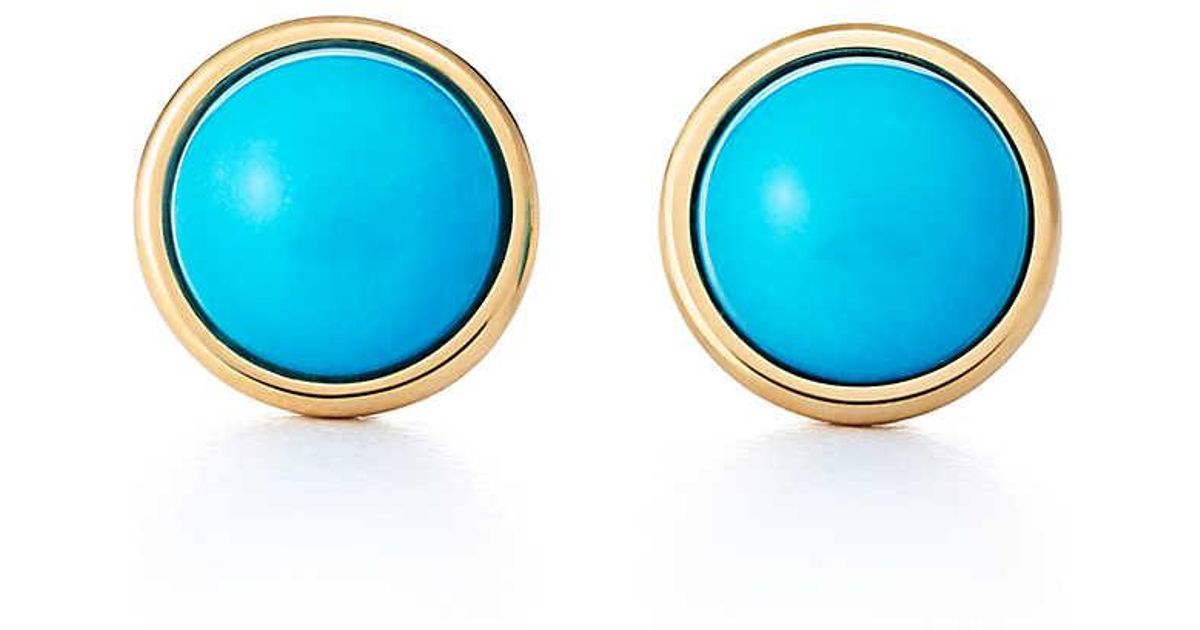 Elsa Peretti Color by the Yard earrings in 18k gold with turquoise cabochons Tiffany & Co. c29ry3