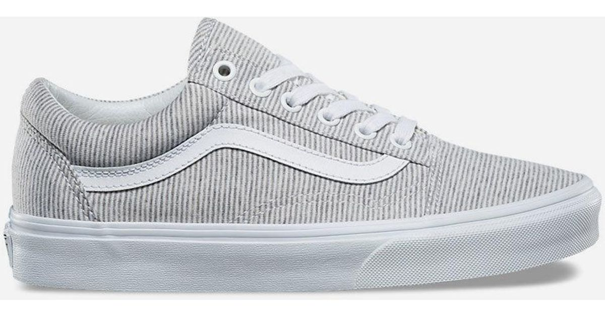 Lyst - Vans Jersey Old Skool Grey   True White Womens Shoes in Gray 7c27d849c