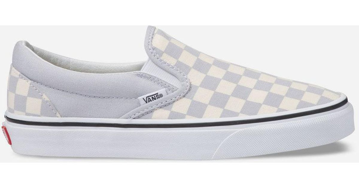 80f00de9bf Lyst - Vans Checkerboard Gray Dawn   True White Womens Slip-on Shoes in  White